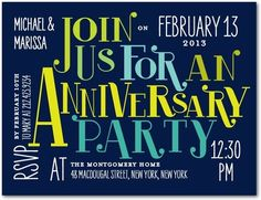 Anniversary Party Invitations Postcards Impressive Invite - Front : Deep Purple