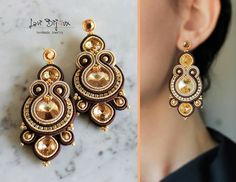 Soutache Pendant, Soutache Necklace, Beaded Earrings, Earrings Handmade, Handmade Jewelry, Bead Embroidered Bracelet, Embroidery Jewelry, Bead Jewellery, Jewelery