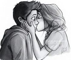 the first time i saw this drawing-before i knew what teen wolf was i fell in LOVE with it- i love this drawing. and now i know uts stiles and lydia, when lydia was saving him from his panic attack omg i love this even Cute Couple Drawings, Cute Couple Cartoon, Cute Couple Art, Drawings Of Couples, Cute Sketches Of Couples, Love Drawings For Her, Couple Kiss Drawing, Couple Drawings Tumblr, Cute Cartoon