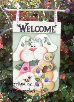 Handpainted Spring Bunny Banner, Wooden  Easter Bunny, Holiday, Welcome Greeter, Home Decor via Etsy