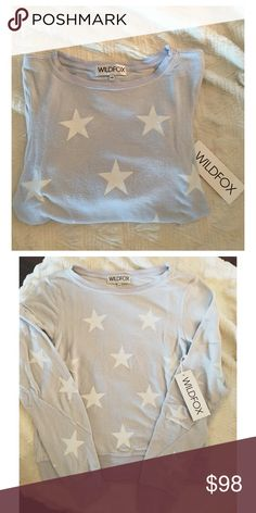 •Wildfox• Starshine Jumper NWT • adorable authentic Wildfox Starshine Baggy Beach Jumper • super cozy • color is a ghost blue • material: 47% rayon 47% polyester 6% spandex • Wildfox Sweaters