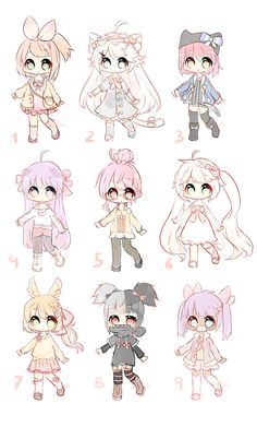 [Open Adopts batch ~ Set price by Koitshi Chibi Girl Drawings, Cute Kawaii Drawings, Art Drawings Sketches Simple, Cute Anime Chibi, Kawaii Chibi, Kawaii Anime Girl, Arte Do Kawaii, Kawaii Art, Cute Art Styles