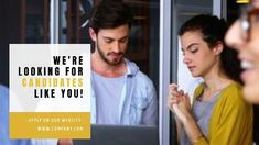 We're looking for candidates like you! A yellow textbox background with a background video of employees working.