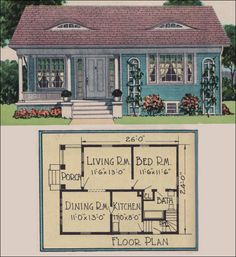 1926 Yerkes Plan by Radford - American Builder Magazine - Vintage small house plans - Colonial Cottage  The Yerkes model was published in American Builder in 1926. It's a sweet, traditional cottage with Colonial Revival styling and a few elements like the eyebrow dormers to give it a little extra character. A basement provided much needed space for mechanicals and storage.