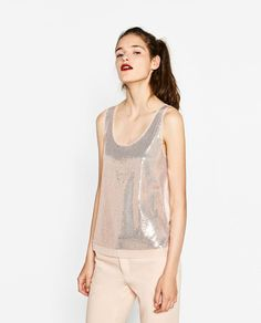 TOP WITH SEQUINS-View all-T-SHIRTS-WOMAN   ZARA United States
