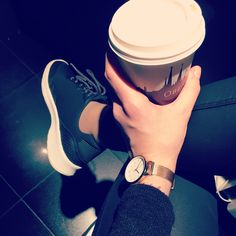 Sport shoes, coffee, Sunday morning, leather pants