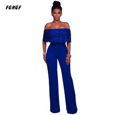 b8a4916af710 Hilove Summer Jumpsuit Women Casual Loose Wide Leg Jumpsuits Off Shoulder  Overalls Sexy Lace Ruffles Jumpsuits Women Rompers