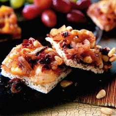 Smoked Cheese Squares A sweet onion topping makes a pretty presentation on these savory appetizers.