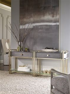 Abstract artwork and neutral colors make a great match