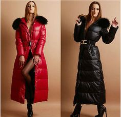 Womens Parka Fur Full Length Long Down Coat Quilting Slim Outwear Luxary Jacket