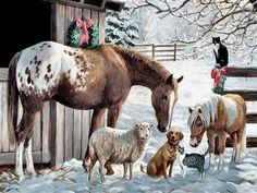 Pony and Friends - Horse - landscape, cats, christmas, horse, sheep, pony, farm, art, snow, scenery, winter, painting, artwork, dog