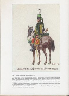 Royal Army: Plate 9: Hussar Regiment de Saxe, Private, 1790.