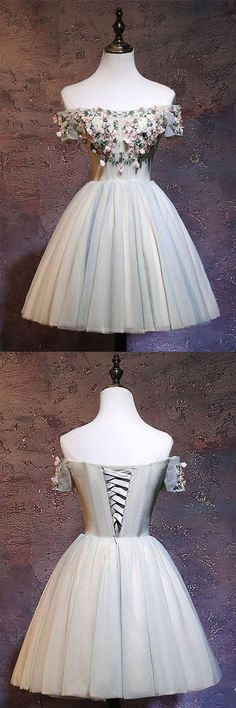 Cute tulle off shoulder short prom dress, tulle homecoming dress, tulle lace applique short bridesmaid dress