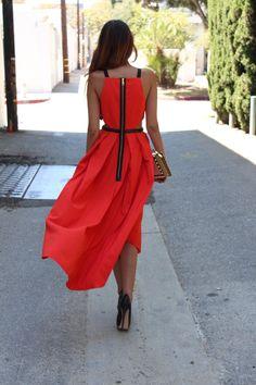 flowy red summer dress - street style