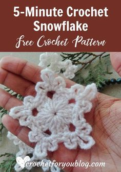 Crochet Flowers Pattern Crochet Snowflake - free crochet pattern - Believe me, friends, this snowflake can make in 5 minutes. So I named it Crochet Snowflake. Also, this pattern requires less than 5 yards. Crochet Diy, Crochet Motifs, Crochet Flower Patterns, Crochet Gifts, Crochet Flowers, Crochet Stitches, Free Crochet Snowflake Patterns, Crochet Ideas, Free Heart Crochet Pattern