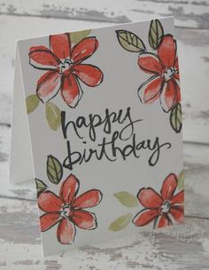 Julie Kettlewell - Stampin Up Watercolour Words meet Garden in Bloom Watercolor Birthday Cards, Birthday Card Drawing, Watercolor Cards, Watercolour, Bday Cards, Happy Birthday Cards, Homemade Birthday Cards, Homemade Cards, Karten Diy