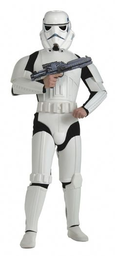 Stormtrooper Star Wars Costume - This is a licensed Star Wars Stormtrooper costume. The costume is a one piece jumpsuit with poly-foam armour. The jumpsuit is black in the front and white in the back. The white armour covers the chest, biceps, forearms, shoulders, crotch, thighs and shins. There are shoe covers attached to the jumpsuit and are white with elastic for under the shoe. There is also a white poly-foam belt with white sash to tie on. #starwars #yyc #costume