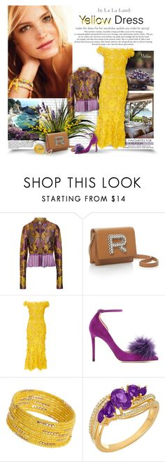 """""""A Flirty Yellow Dress"""" by thewondersoffashion ❤ liked on Polyvore featuring Beautiful People, Etro, Naeem Khan, Jimmy Choo, Dorothy Perkins and Lord & Taylor"""