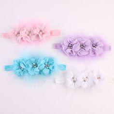 New style Newborn Baby Headband Chiffon 3 Flower Pearl Diamond with Feather Headbands Elasticity Baby hair accessories 1 piece