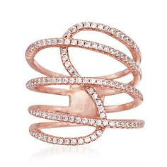 Ross-Simons - .75 ct. t.w. CZ Multi-Loop Ring in 14kt Rose Gold Over Sterling - #838025