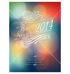 Happy new year words on abstract bokeh background vector - by kraphix on VectorStock®