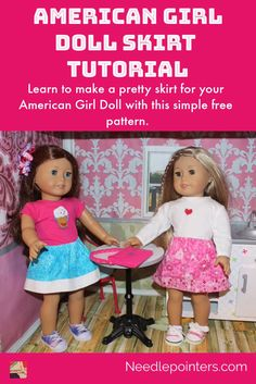 Make a pretty skirt for your American Girl Doll with our free video and photo tutorial. This is an easy beginner sewing project and perfect for teaching kids to sew. Pick some pretty fabrics and make your doll a skirt. Baby Clothes Patterns, Doll Sewing Patterns, Coat Patterns, Clothing Patterns, American Girl Crafts, American Doll Clothes, Sewing Doll Clothes, Sewing Dolls, Barbie Clothes