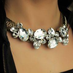 Unique Necklace-Gold Stone Necklace-Large Chain Necklace Choker-Gold Chunky Necklace-Crystal Necklace-Big Stone Necklace-Antique Necklace by Trinketmart on Etsy