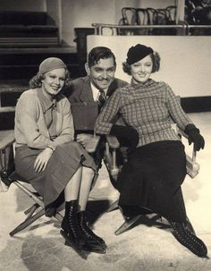 Jean Harlow, Clark Gable and Myrna Loy on the set of Wife vs. Secretary (1936) Directed by Clarence Brown