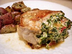 Stuffed Pork Chops with Sun-Dried Tomatoes and Spinach - High Protein/Low Calorie