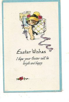 Easter Postcard Little Naked Girl  Sporting by sharonfostervintage, $2.25