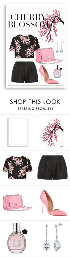 """""""Cherry Blossom - Black & Pink"""" by msh820 ❤ liked on Polyvore featuring Bomedo, Jonathan Saunders, 3.1 Phillip Lim, Prada, Kurt Geiger, Viktor & Rolf and BERRICLE"""