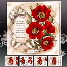 Red Poppies Card Mini Kit on Craftsuprint designed by Atlic Snezana - Red Poppies Card Mini Kit: 4 sheets for print with decoupage for 3D effect plus…