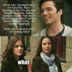 This is hilarious. Is it bad I still think they are perfect for each other? Pll Quotes, Pll Memes, Movie Quotes, Funny Quotes, Pretty Little Liars Series, Preety Little Liars, Pretty Little Liars Quotes, Pll Logic, Ezra Fitz