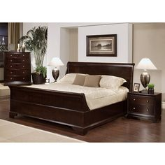 Enrich your home decor with this Kingston king-size Sleigh bedroom set. This set features solid oak wood construction and includes a king-size bed, two nightstands, and one chest.
