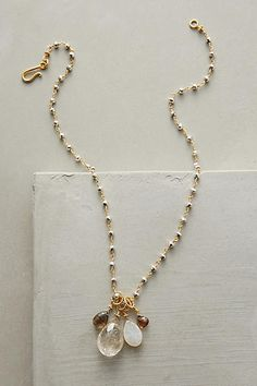 22k gold vermeil, pyrite, druzy, quarta necklace by Anthropologie