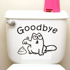 Funny Cat Toilet Seat Wall Sticker - Vinyl, Removable Home Decor - Waterproof