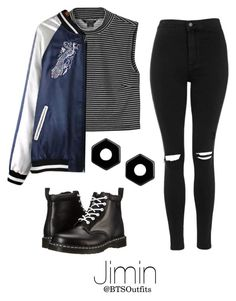 """""""BTS Jap. Ver. Inspired: Jimin"""" by btsoutfits ❤ liked on Polyvore featuring Monki, Dr. Martens, Topshop and Marc by Marc Jacobs"""
