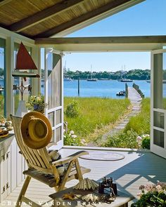 sun porch with a view of the water ♠ re-pinned by http://www.waterfront-properties.com/