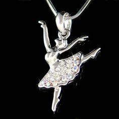Swarovski Crystal BALLERINA Ballet Dance Girl Dancer dancing Teacher Pendant Necklace Christmas Gift New for The Nutcracker Swan Lake Lover