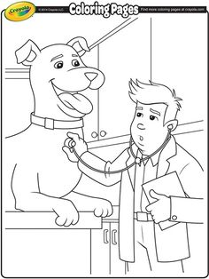 Let Your Kids Color In This Great Veterinarian Free Printable Coloring Page