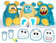 "Pattern, sewing instruction & embroidery files Plush Monster ""MemoMonsti"" as an ebook in PDF format Embroidery Files, Machine Embroidery Designs, Sewing For Kids, Diy For Kids, Doll Patterns, Sewing Patterns, Boo And Buddy, Fleece Crafts, Sock Toys"