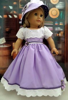 American Girl Doll Dress with Hat, Petticoat, Doll Shoes - 18 Inch Doll Clothes - Doll Accessories - 1011