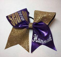Monogrammed gold glitter and purple senior 2018 cheer bow
