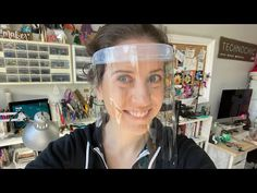 DIY Face Shield Made with 2 Headbands, a Hair Tie, Transparency Film, Duct Tape, and Hot Glue - New ideas Mascarilla Diy, Diy Masque, Fabric Tape, Pocket Pattern, Diy Face Mask, Face Masks, Mask Making, Bandeau, Duct Tape
