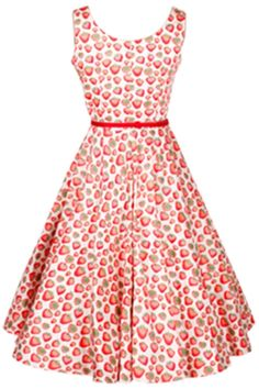 Vintage Strawberry Print Sleeveless A-line Dress - OASAP.com