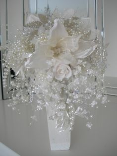 beautiful bead and pearl bridal bouquet with stand and matching grooms button hole. Purple Christmas Tree Decorations, Christmas Flower Arrangements, Modern Flower Arrangements, Christmas Centerpieces, Crystal Centerpieces, Centrepieces, Flower Centerpieces, Wedding Centerpieces, Wedding Decorations