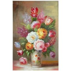 floral painted furniture | Oriental Furniture Floral Bouquet Hand Painted Original Painting on C ...