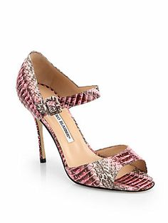 Manolo Blahnik Caldo Snakeskin Ankle Strap Sandals