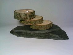 Log and Slate Tealight Candle Holder Unique by DeerwoodCreekGifts, $20.00