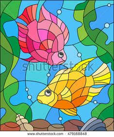 Illustration in stained glass style with a pair of princess parrotfish on the background of water and algae - comprar este(a) imagem vetorial de banco no Shutterstock e encontrar outras imagens. Stained Glass Panels, Stained Glass Patterns, Stained Glass Art, Glass Painting Designs, Paint Designs, Mosaic Art, Mosaic Glass, Crayon Drawings, Illustration